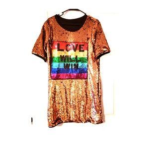 """Love will win"" shirt dress"